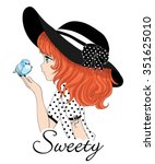 cute girl in a hat vector... | Shutterstock .eps vector #351625010
