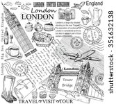 london  big ben hand drawing... | Shutterstock .eps vector #351632138