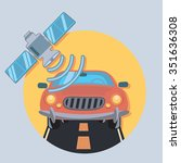 car and satellite circle icon... | Shutterstock .eps vector #351636308