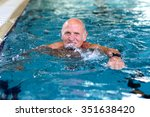 healthy senior man swimming in... | Shutterstock . vector #351638420