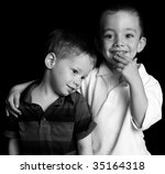 Two Cute Boys Studio Portrait