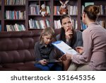 young mom with her daughter at... | Shutterstock . vector #351645356