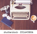 old typewriter on old wooden... | Shutterstock . vector #351645806