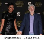 Small photo of LOS ANGELES - DEC 14: Mellody Hobson, George Lucas at the Star Wars: The Force Awakens World Premiere at the Hollywood & Highland on December 14, 2015 in Los Angeles, CA