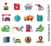 gas station flat color icons... | Shutterstock .eps vector #351656090