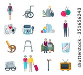 pensioners lifestyle flat color ... | Shutterstock .eps vector #351656243