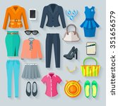 woman clothes collection color... | Shutterstock .eps vector #351656579