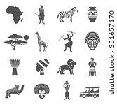 africa black white icons set... | Shutterstock .eps vector #351657170