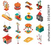 travelling amusements park... | Shutterstock .eps vector #351658199