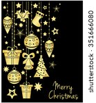 merry christmas greeting card... | Shutterstock .eps vector #351666080