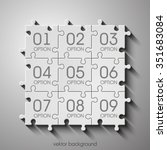nine piece flat puzzle round...   Shutterstock .eps vector #351683084