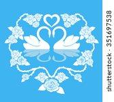 two swan ornament. vector... | Shutterstock .eps vector #351697538