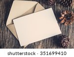 blank white paper card with... | Shutterstock . vector #351699410