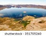 colored lake in nevada's desert ... | Shutterstock . vector #351705260