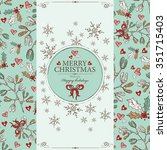 christmas card with mistletoe... | Shutterstock .eps vector #351715403