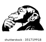 graphic image of a monkey's head | Shutterstock .eps vector #351719918