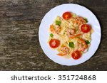 pasta with shrimp  tomatoes ... | Shutterstock . vector #351724868