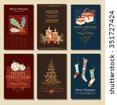 vector set. christmas cards.... | Shutterstock .eps vector #351727424