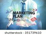 businessman holding a tablet... | Shutterstock . vector #351739610