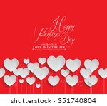 valentines day heart flowers on ... | Shutterstock .eps vector #351740804