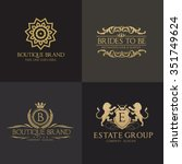 luxury crests logo set.lion... | Shutterstock .eps vector #351749624