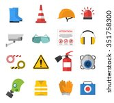 Safety Work Icons Flat Style...