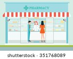female pharmacist at the... | Shutterstock .eps vector #351768089