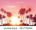palms silhouettes at pink... | Shutterstock . vector #351770504