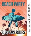 beach surfers party vertical... | Shutterstock . vector #351781226