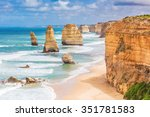 twelve apostles rock formations ... | Shutterstock . vector #351781583