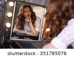 fashion studio portrait of... | Shutterstock . vector #351785078