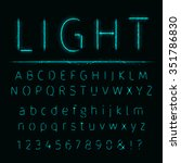 alphabet of aqua lights on dark ... | Shutterstock .eps vector #351786830