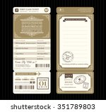 vintage style boarding pass... | Shutterstock .eps vector #351789803