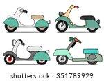 vector set scooters. vintage... | Shutterstock .eps vector #351789929