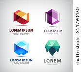 vector set of crystal 3d logos  ... | Shutterstock .eps vector #351790460