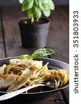 pasta spaghetti with pesto... | Shutterstock . vector #351803933