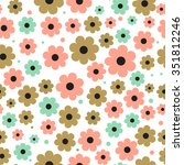 seamless background with cute... | Shutterstock .eps vector #351812246