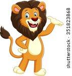 happy carton lion posing | Shutterstock . vector #351823868