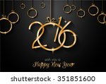 2016 happy new year and merry... | Shutterstock . vector #351851600