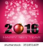 2016 happy new year and merry... | Shutterstock . vector #351851609