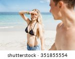 portraits of romantic young... | Shutterstock . vector #351855554