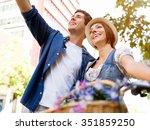 Happy Young Couple City Bike - Fine Art prints