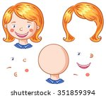 cartoon face parts for kids to... | Shutterstock .eps vector #351859394