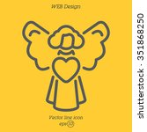 web line icon. angel with heart ... | Shutterstock .eps vector #351868250