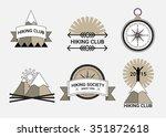 set of hiking themed logos.... | Shutterstock .eps vector #351872618