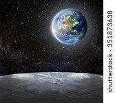 view of the earth from the moon.... | Shutterstock . vector #351873638