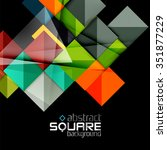 glossy color squares on black.... | Shutterstock .eps vector #351877229