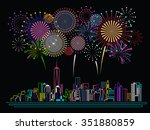 cityscape building line art and ... | Shutterstock .eps vector #351880859