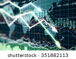 Business chart with glowing arrows and world map - stock photo