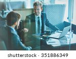 young businessman voicing his... | Shutterstock . vector #351886349